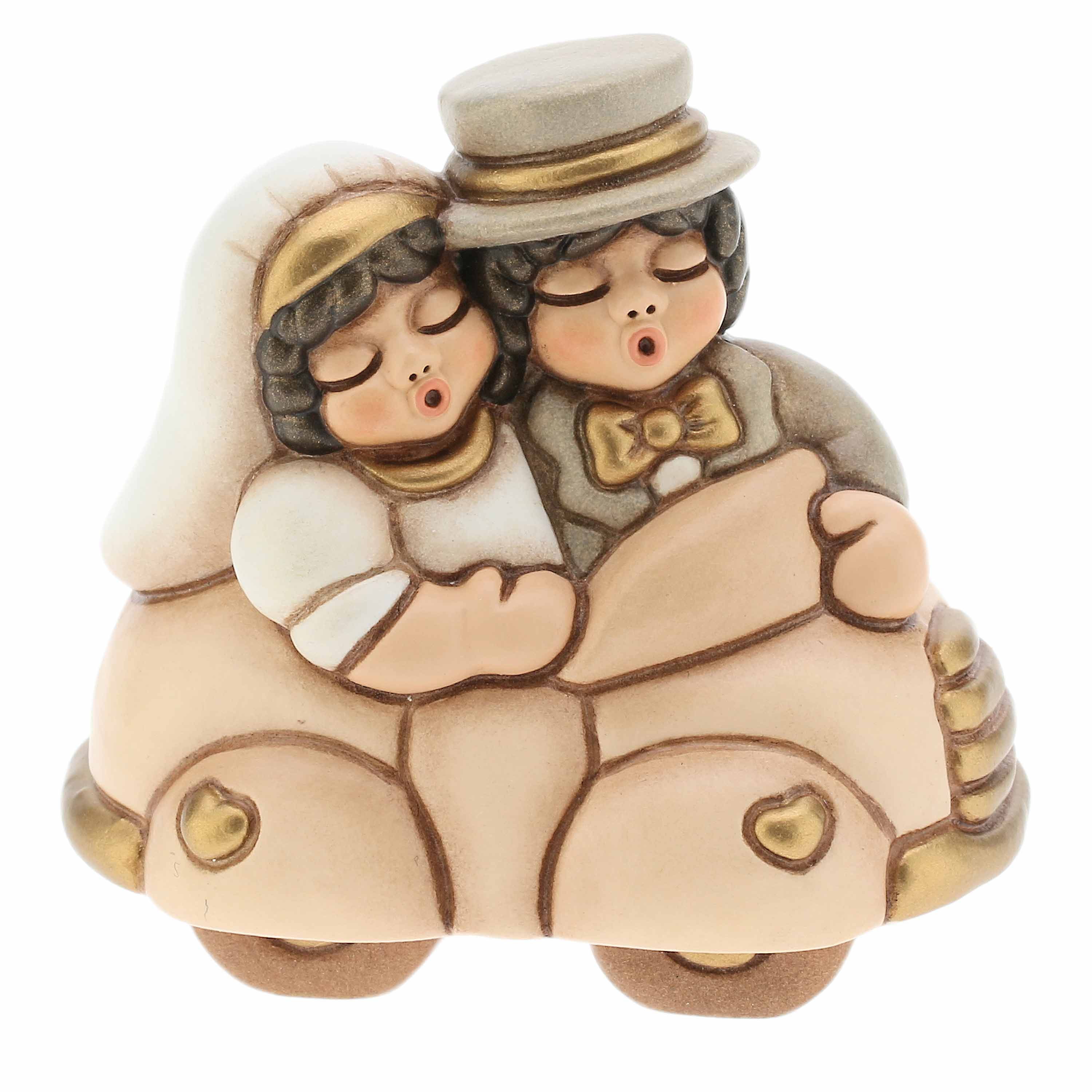 Small Newlyweds On Car Multicolor Detailssoft Multicoloredpink