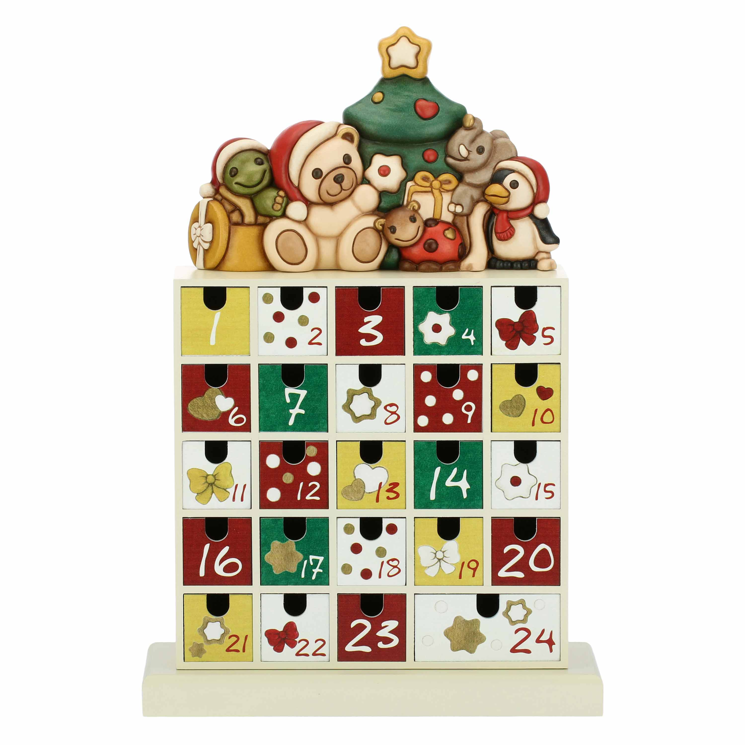 Wooden Advent Calendar With Ceramic Characters Red Thun Shop