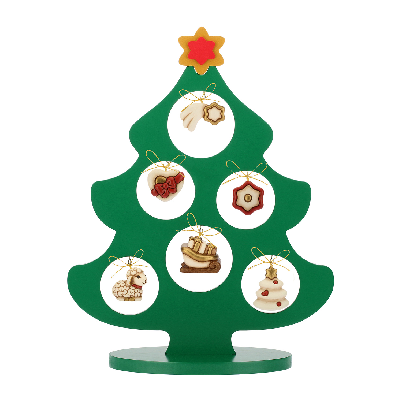 Set Holzbaum mit 6 Weihnachtsschmuck mini aus Keramik bunt ...
