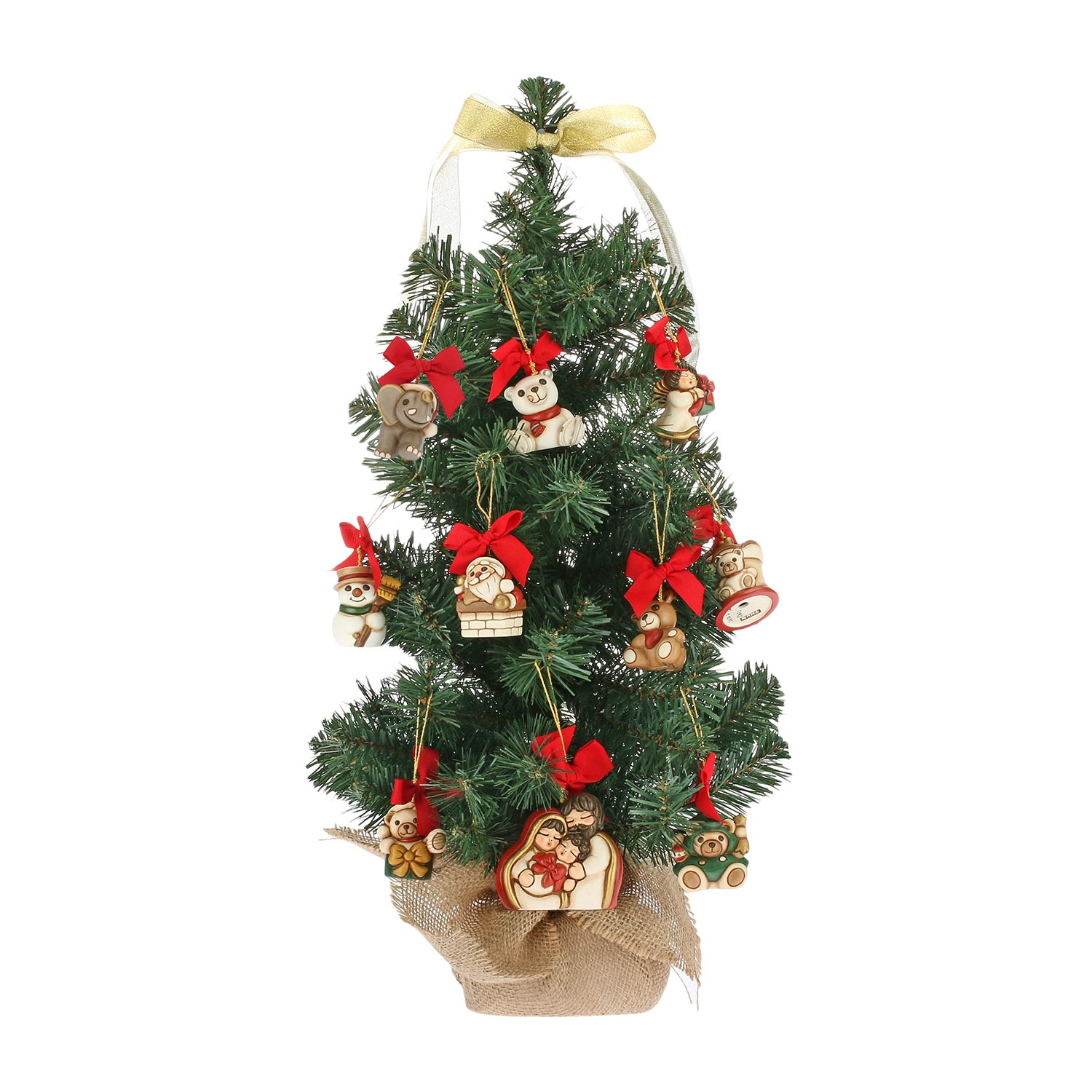 Set Christmas Tree With 10 Mini Ceramic Decorations Pack Assorted