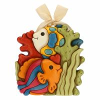 Decorative plaque – colourful fish with coral and seaweed