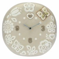 Prestige round wall clock with flowers and butterfly