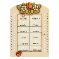 Calendario perpetuo da parete in ceramica Country con coccinella portafortuna