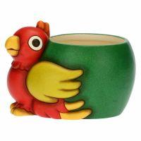 Yucatan parrot ceramic flowerpot holder