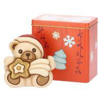 Teddy Natale piccolo con stella cometa e scatola in latta