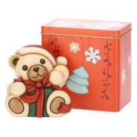 Teddy Natale piccolo con pacco regalo e scatola in latta