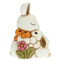 Joy hug rabbit with mum