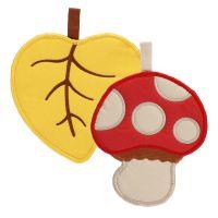 """Gift set 2 potholders leaf and mushroom """"Bosco incantato"""""""
