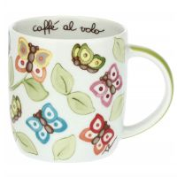 """Farfalle in Festa"" mug with green handle"