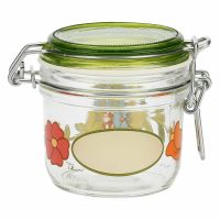 Airtight Country glass jar with flowers