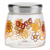 "Small ""Savana story"" jar with red flowers"