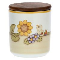 Country porcelain jar with bird and sunflower
