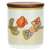 Country porcelain jar with tulip and butterfly