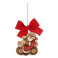 Big Christmas decoration Santa Claus on bicycle