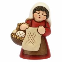 Donna che lavora a maglia Presepe classico variante rossa