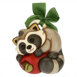 Greedy Pepito the Raccoon decorative plaque with apple