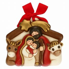 Nativity Scene decorative plaque with Jesus Joseph Mary the Ox and the Donkey