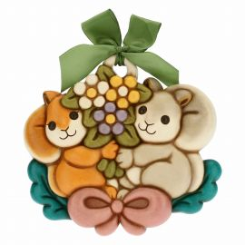 Decorative plaque – squirrels with bouquet of flowers