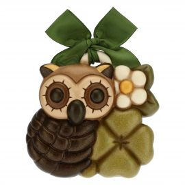 Decorative plaque – owl with lucky four-leaf clover