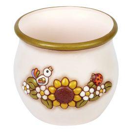Copri vaso grande in ceramica decorato Country