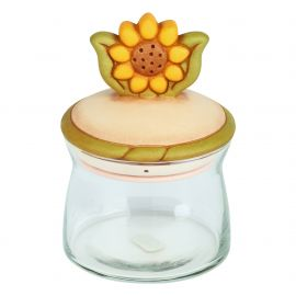 Medium Country glass jar with sunflower