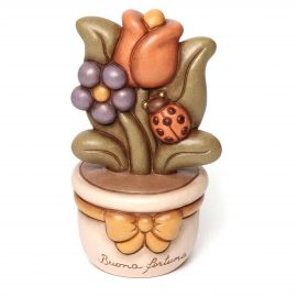 Flowerpot ornament with coloured tulip
