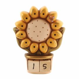 Ceramic perpetual desk calendar with flower