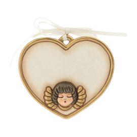 Formella piccola a forma di cuore con angelo