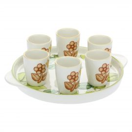 "Glass set with tray and 6 mini glasses ""Nova villa"""