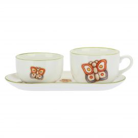 Set big cup, tray and small bowl Butterfly