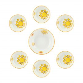 "Set spaghettiera con 6 piatti fondi in soft porcelain ""New Mexico"""