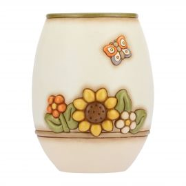 Country vase with flowers and butterfly