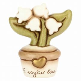 Flowerpot ornament with lily of the valley - I love you