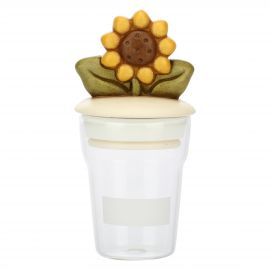 Country glass jar with sunflower
