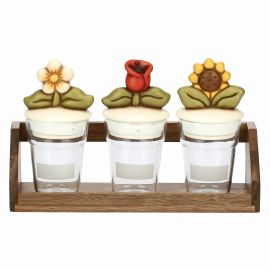 Set 3 kleine Dosen aus Glas Country