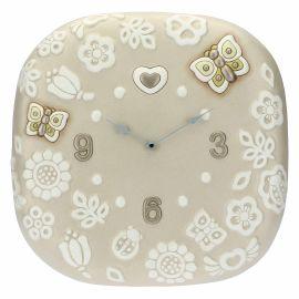 Orologio tondo da parete Prestige con fiori e farfalle