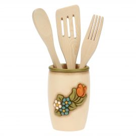 Country utensil jar with 3 utensils