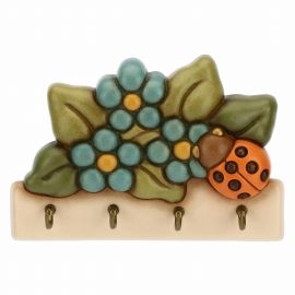 Country 4-hook key rack with lucky ladybird