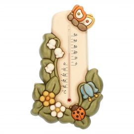 Country ceramic wall thermometer with butterfly and lucky ladybird