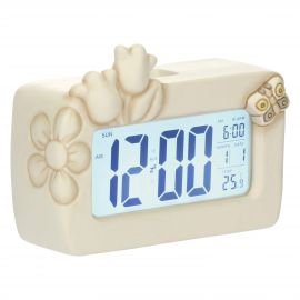 Elegance digital clock with flowers and butterfly