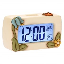 Country digital clock with flowers and lucky ladybird