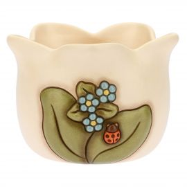 Coprivaso in ceramica Country con coccinella portafortuna
