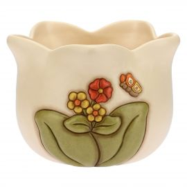 Country ceramic flowerpot holder with butterfly