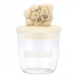 Elegance glass jar with flower and butterfly