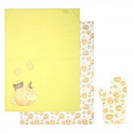 "Set oven glove and 2 canvas ""Zucca magica"""