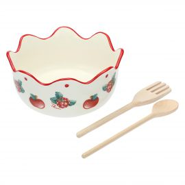 "Set salad bowl with 2 ladles ""Frutti rossi"""