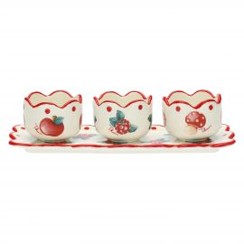 "Set 3 bowls with tray ""Frutti rossi"""