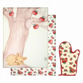 "Set oven glove and 2 canvas ""Frutti rossi"""