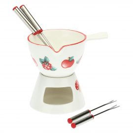"Fondue set ""Frutti rossi"" with 4 small forks"
