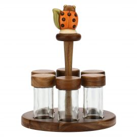 Country vertical spice holder for 6 spice jars with lucky ladybird